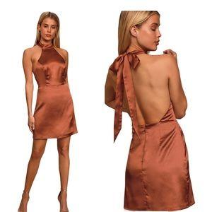 Lulu's Rust Brown Satin Halter Mini Dress